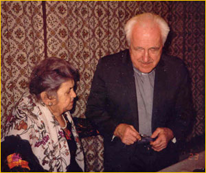 Father Janíček in 1994 with one of his Slovak friends, Mrs. Štrbáňek